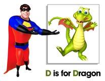 Super held die Draak richten royalty-vrije illustratie
