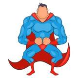 Super held klaar om pictogram, beeldverhaalstijl te vliegen royalty-vrije illustratie