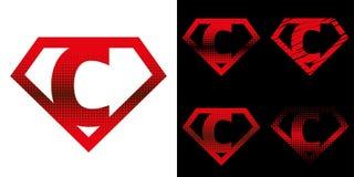 Super held Logo Letters Superhero Alphabet Royalty-vrije Stock Afbeeldingen