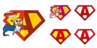 Super held Logo Letters Superhero Alphabet Royalty-vrije Stock Foto