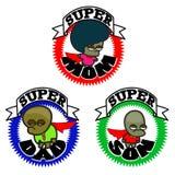 Super helden gelukkige familie - beeldverhaal grafisch pictogram vector illustratie