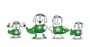 Super Helden groene Familie Stock Afbeelding