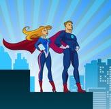 Super Helden - Mannetje en Wijfje Stock Fotografie