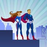 Super Helden - Mannetje en Wijfje Royalty-vrije Stock Foto's