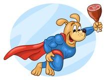 Super heldenhond die in de hemel vliegen vector illustratie