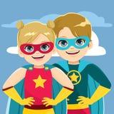 Super Heldensiblings stock illustratie