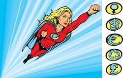Super heldin die in actie vliegt Royalty-vrije Stock Afbeelding