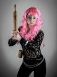 Super-herói cor-de-rosa do cabelo Fotografia de Stock Royalty Free