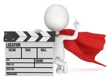 super-herói 3D com clapperboard do cinema Imagem de Stock