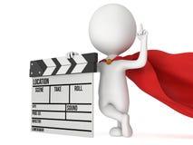 super-herói 3D com clapperboard do cinema Foto de Stock