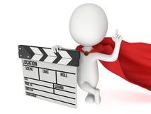 super-herói 3D com clapperboard do cinema Fotos de Stock