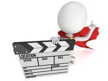super-herói 3D com clapperboard do cinema Imagens de Stock