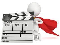 super-herói 3D com clapperboard do cinema Fotografia de Stock Royalty Free