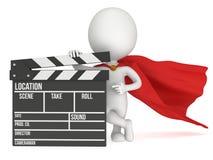 super-herói 3D com clapperboard do cinema Fotos de Stock Royalty Free