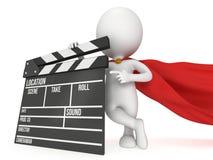 super-herói 3D com clapperboard do cinema Imagens de Stock Royalty Free