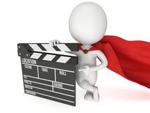 super-herói 3D com clapperboard do cinema Fotografia de Stock