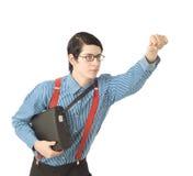 Super-herói do homem de negócios do lerdo Fotos de Stock Royalty Free