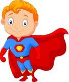 Super-herói do rapaz pequeno dos desenhos animados Fotos de Stock