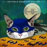 Super-herói dos gatos Gato do bastão Imagem de Stock Royalty Free