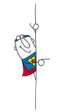 Super-herói e sua placa Foto de Stock
