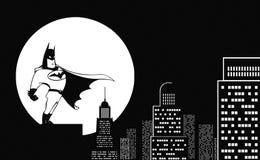 Super-herói em um telhado ilustração do vetor
