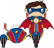 Super-herói heroico dos desenhos animados no 'trotinette' ilustração do vetor