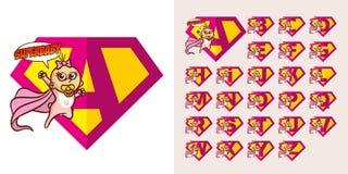 Super-herói Logo Letters Supehero Alphabet Fotografia de Stock Royalty Free