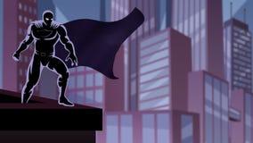 Super-herói no laço do telhado ilustração do vetor