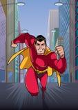 Super-herói que corre na cidade ilustração stock
