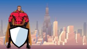 Super-herói que guarda o protetor na cidade ilustração royalty free