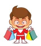 Super-herói que guarda sacos de compras Imagem de Stock
