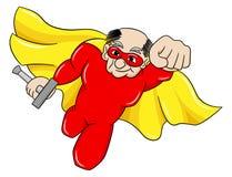 Super-herói superior de voo com cabo Foto de Stock Royalty Free