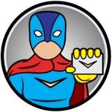 Super-herói que mostra cartões Fotografia de Stock