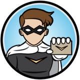Super-herói que mostra cartões Imagem de Stock Royalty Free