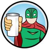 Super-herói que mostra um vidro do leite Fotos de Stock
