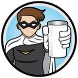 Super-herói que mostra um vidro do leite Imagem de Stock Royalty Free