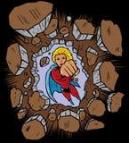 Super-herói que perfura através da parede Fotografia de Stock