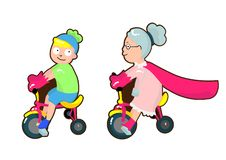 Super grandmother ride a bike with her grandson . stock photo