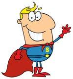 Super hero. Caucasian cartoon super hero waving man Vector Illustration