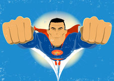 Super Hero. Illustration of a super hero flying in the sky Royalty Free Stock Photo
