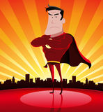 Super-Hero. Illustration of a cartoon super hero standing proudly with cityscape behind Stock Image
