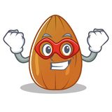 Super hero almond nut character cartoon Stock Image