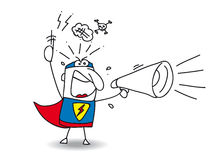 Super Hero Angry megaphone Royalty Free Stock Photo