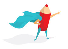 Super hero artist or pencil standing proud and pointing Stock Image