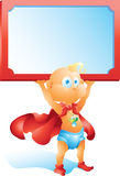 Super hero baby holding blank sign  Stock Photography