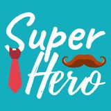 Super Hero banner and giftcard. Father`s Day Poster Sign on Back. Ground. Vector Illustration Royalty Free Stock Images