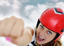 Super hero woman flying Stock Image