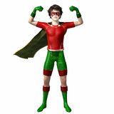 Super hero boy 3. Boy wearing super hero suit with cape with arms up Royalty Free Stock Photography