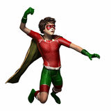 Super hero boy 2. Boy wearing super hero suit with cape flying to fight Royalty Free Stock Photography