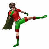 Super hero boy 4. Boy wearing super hero suit with cape kicking with leg Royalty Free Stock Photo